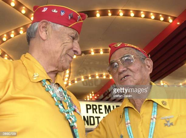 Former Navajo code talkers Roy Hawthorne of Lupton AZ and Jim Brown Jr of Crystal NM arrive for the premiere of the film 'Windtalkers' at the Uptown...
