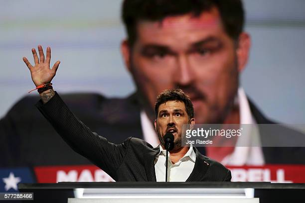 Former Navy SEAL Marcus Luttrell delivers a speech on the first day of the Republican National Convention on July 18 2016 at the Quicken Loans Arena...