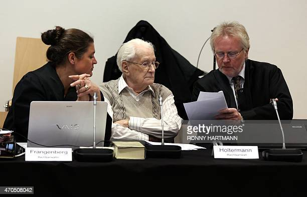 Former Nazi death camp officer Oskar Groening and his lawyers Hans Holtermann and Susanne Frangenberg attends the opening of his trial on April 21,...