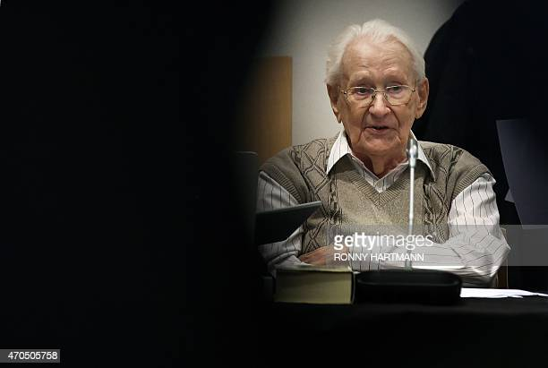 Former Nazi death camp officer Oskar Groening attends the opening of his trial on April 21 2015 in Lueneburg northern Germany The 93yearold man...