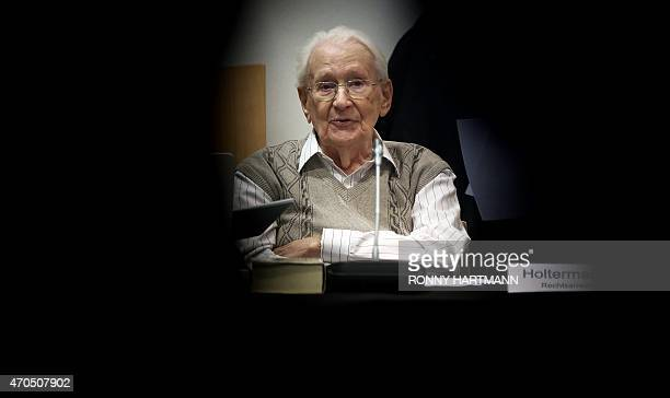 Former Nazi death camp officer Oskar Groening attends the opening of his trial on April 21, 2015 in Lueneburg, northern Germany. The 93-year-old man...