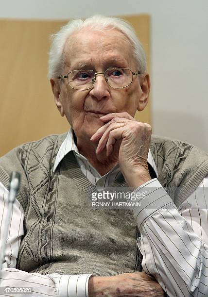 Former Nazi death camp officer Oskar Groening waits at court for the opening of his trial on April 21, 2015 in Lueneburg, northern Germany. The...