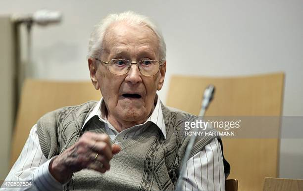 Former Nazi death camp officer Oskar Groening waits for the opening of his trial on April 21 2015 in Lueneburg northern Germany The 93yearold man...
