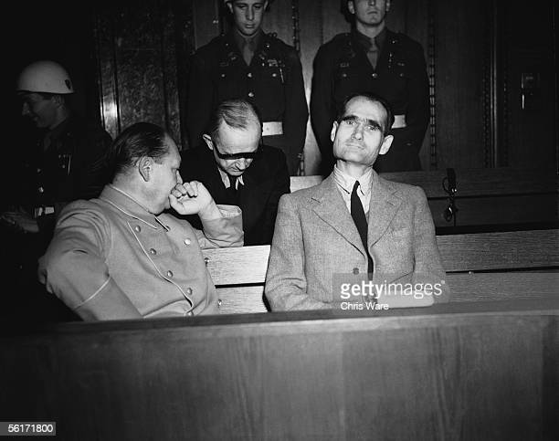Former Nazi military and political leaders Hermann Goering and Rudolf Hess in court during their trials at the International War Crimes Tribunal at...