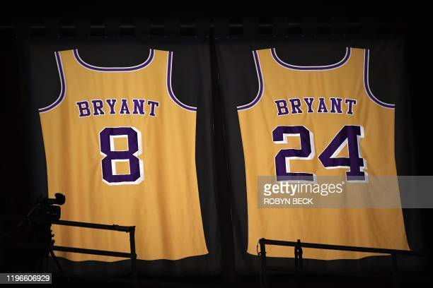 Former NBA and Los Angeles Lakers player Kobe Bryant jerseys are pictured at Staples Center in Los Angeles on January 26 2020 NBA legend Kobe Bryant...