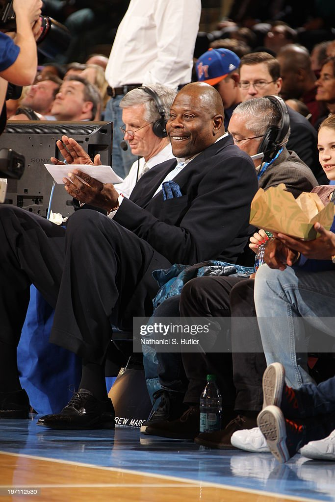 Former NBA and New York Knick legend, Patrick Ewing, attends a game played between the New York Knicks and the Orlando Magic on March 20, 2013 at Madison Square Garden in New York City.