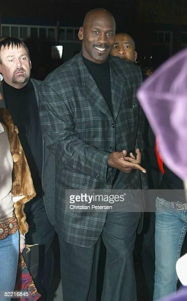 Former NBA athlete Michael Jordan arrives at the Air Jordan XX Launch Party at Rise Nightclub on February 18 2005 in Denver Colorado