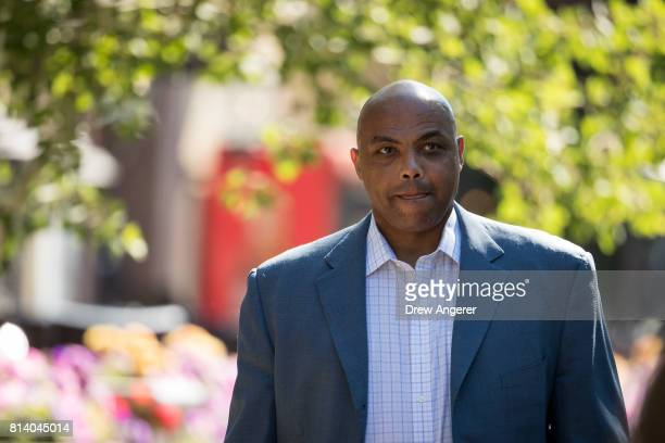 Former NBA basketball player Charles Barkley attends the third day of the annual Allen Company Sun Valley Conference July 13 2017 in Sun Valley Idaho...