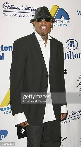 Former NBA basketball player Dennis Rodman attends the Earvin Magic Johnson Celebrates 25 Years of Business gala at the Beverly Hilton Hotel on...