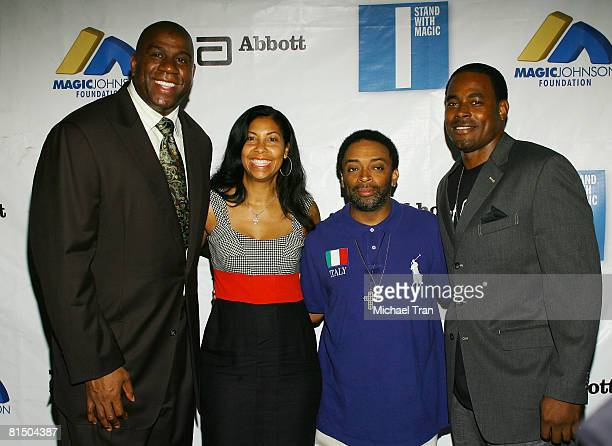 Former NBA basketball player Earvin Magic Johnson Cookie Johnson director Spike Lee and actor Lamont Rucker attend the I Stand With Magic Program...