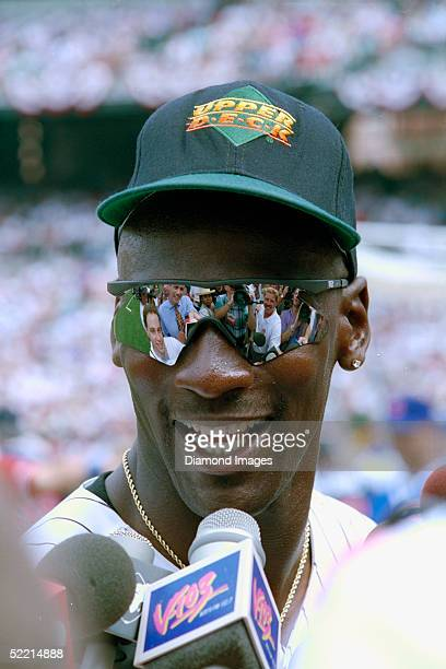 Former NBA basketball player Michael Jordan who is currently signed to the minor leagues for the Chicago White Sox speaks to the press prior to the...