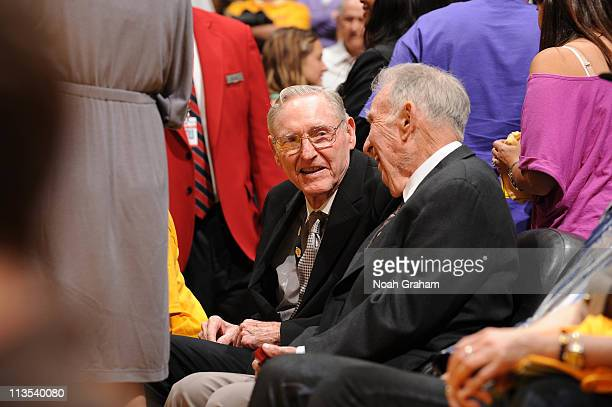 Former NBA coach Bill Sharman attends a game between the Dallas Mavericks and the Los Angeles Lakers in Game One of the Western Conference Semifinals...
