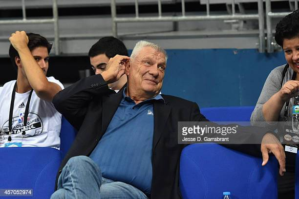 Former NBA Coach Don Nelson sits court side prior to agate between the San Antonio Spurs against Fenerbahce Ulker as part of the NBA Global Games on...