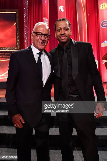 Former NBA coach Larry Brown and Inductee Allen Iverson poses for a photo before the 2016 Basketball Hall of Fame Enshrinement Ceremony on September...