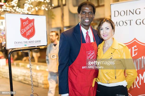 Former NBA Player AC Green and Actress Leni Rico attend The Salvation Army Celebrity Kettle Kickoff Red Kettle Hollywood at the Original Farmers...