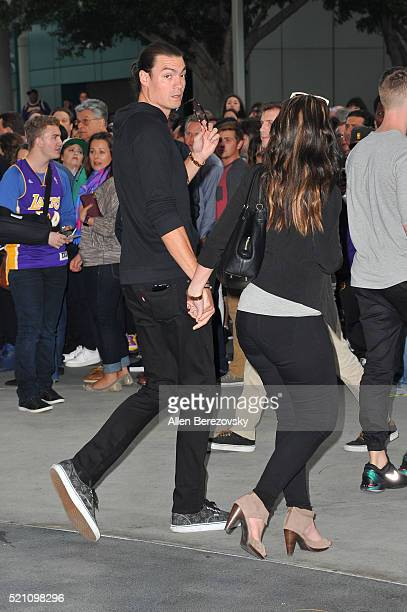 Former NBA player Adam Morrison arrives to Kobe Bryant's last game at The Staples Center on April 13 2016 in Los Angeles California