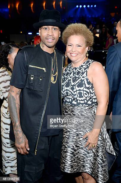 Former NBA player Allen Iverson and Chairman and Chief Executive Officer of BET Debra Lee attend The Players' Awards presented by BET at the Rio...