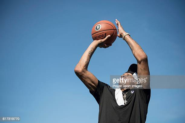 Former NBA player Allen Iverson of USA participate in a basketball exhibition during the World Celebrity ProAm 2016 Mission Hills China Golf...