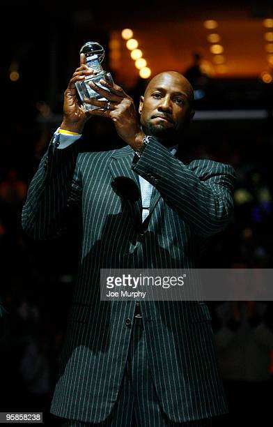 Former NBA player Alonzo Mourning receives the National Civil Rights Museum Sports Legacy Award before a game between the Memphis Grizzlies and the...