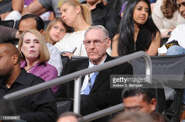 Former NBA player and coach Bill Sharman looks on during a game between the Houston Rockets and the Los Angeles Lakers at Staples Center on April 6...