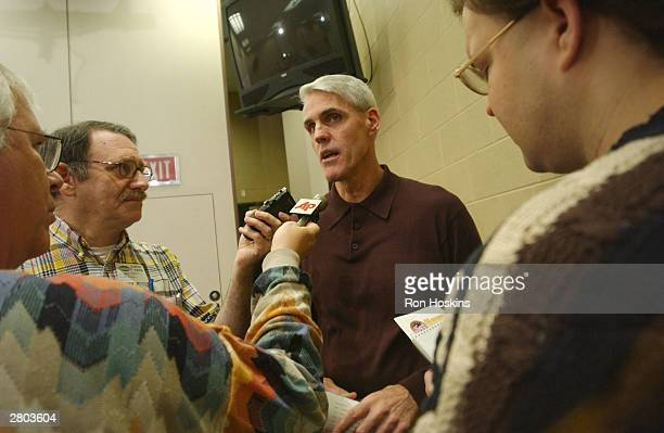 Former NBA player and coach Brian Winters speaks with the media after being named head coach of the Indiana Fever on December 11 2003 at Conseco...