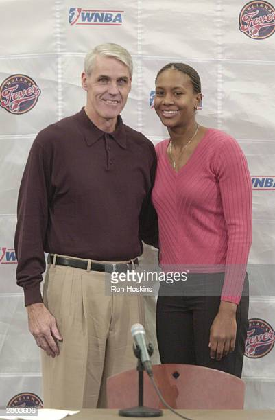 Former NBA Player and coach Brian Winters stands with Indiana Fever player Tamika Catchings after Winters was named head coach of the Indiana Fever...