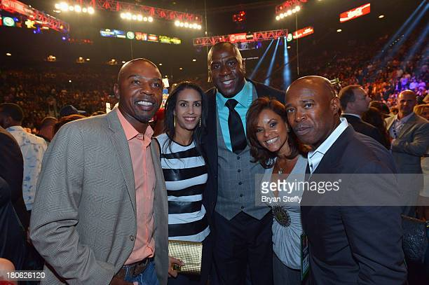 Former NBA player and current sports commentator Gregg Anthony Chere Anthony NBA Hall of Fame member and Los Angeles Dodgers part owner Earvin Magic...