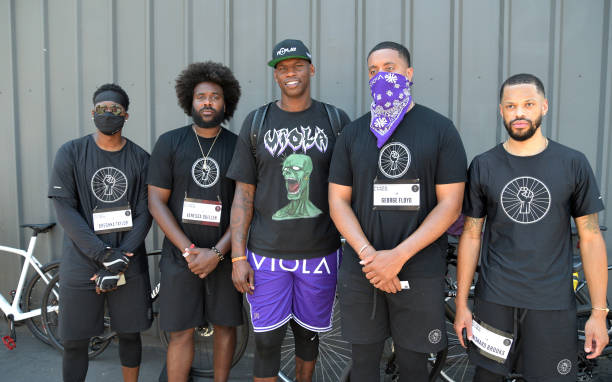 CA: Former NBA player And Entrepreneur Al Harrington Attends A Black Lives Matter Bicycle Rally