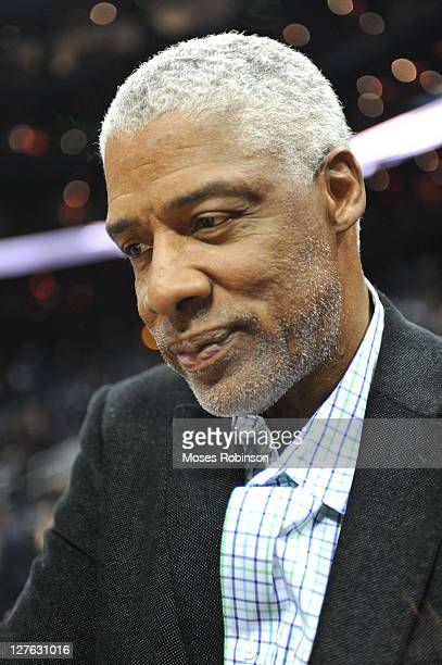 Former NBA Player and Hall of Famer Julius 'Dr J' Erving attends the Los Angeles Lakers vs Atlanta Hawks at Philips Arena on March 8 2011 in Atlanta...