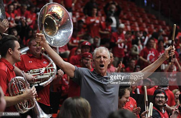 Former NBA player and now broadcaster Bill Walton plays the drums with the Utah University band before the game between the Arizona Wildcats and the...