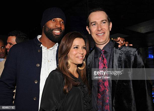 Former NBA Player Baron Davis Actress Eva Longoria Parker and President and CEO of The Conga Room Brad Gluckstien attend the grand opening of The...