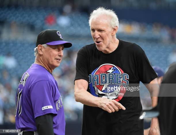 Former NBA player Bill Walton player talks with Bud Black of the Colorado Rockies before a baseball game against the San Diego Padres at Petco Park...