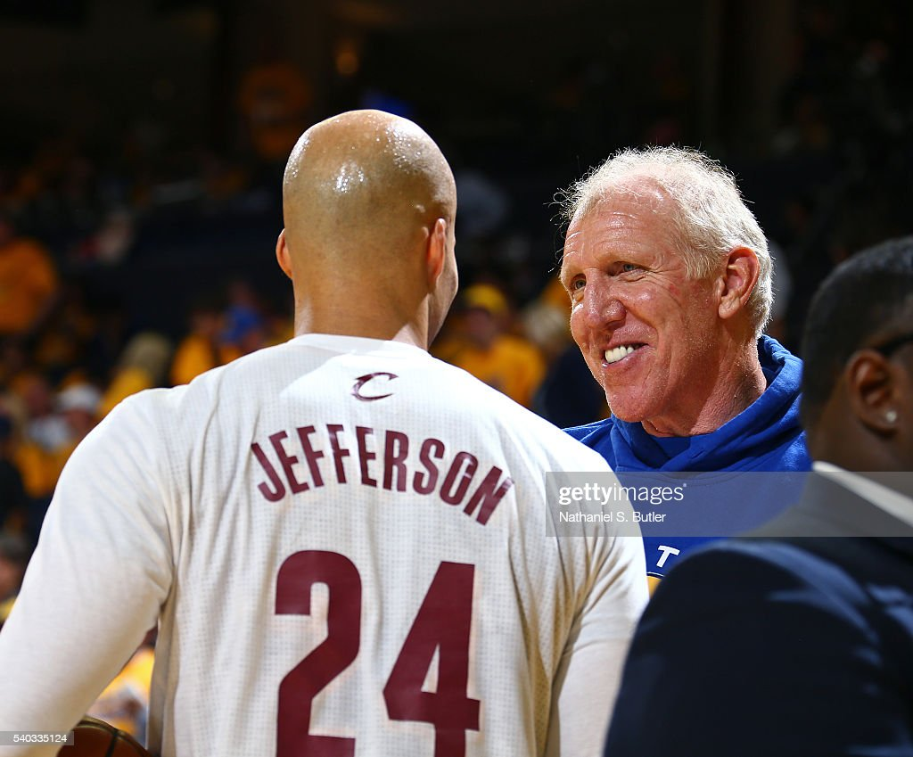 Former NBA player, Bill Walton talks to Richard Jefferson #24 of the Cleveland Cavaliers before Game Five of the 2016 NBA Finals against the Golden State Warriors on June 13, 2016 at ORACLE Arena in Oakland, California.