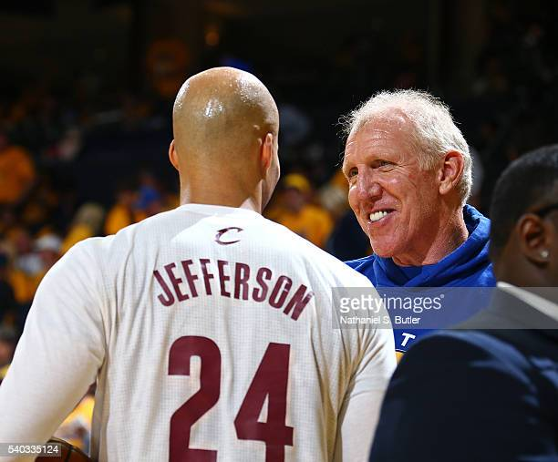 Former NBA player Bill Walton talks to Richard Jefferson of the Cleveland Cavaliers before Game Five of the 2016 NBA Finals against the Golden State...