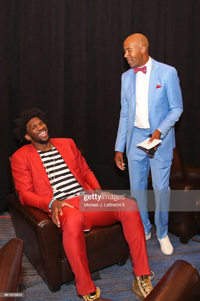 Former NBA player, Bruce Bowen talks with Joel Embiid #21 of the Philadelphia 76ers during the 2017 NBA Draft Lottery at the New York Hilton in New York, New York.