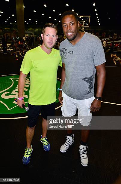 Former NBA player Cedric Ceballos and trainer Joe Barton attend the Sprite Court during the 2014 BET Experience At LA LIVE on June 29 2014 in Los...