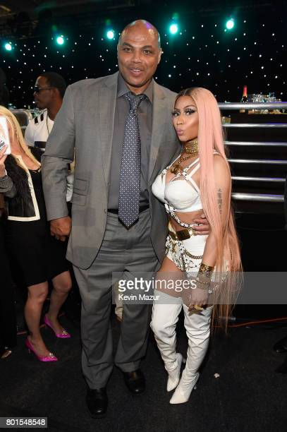 Former NBA player Charles Barkley and Nicki Minaj pose for a photo during the 2017 NBA Awards Live on TNT on June 26 2017 in New York New York...