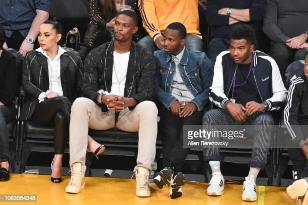 Former NBA player Chris Bosh wife Adrienne Williams Bosh and agent Rich Paul attend a basketball game between the Los Angeles Lakers and the Toronto...