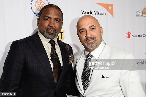 Former NBA player Cuttino Mobley and Sammy Chand attend the SOLD Los Angeles Theatrical Premiere at Laemmle Monica Film Center on April 8 2016 in...