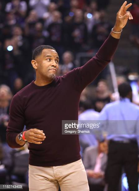 Former NBA player Damon Stoudamire is honored during Game One of the 2019 NBA Finals at Scotiabank Arena on May 30 2019 in Toronto Canada NOTE TO...