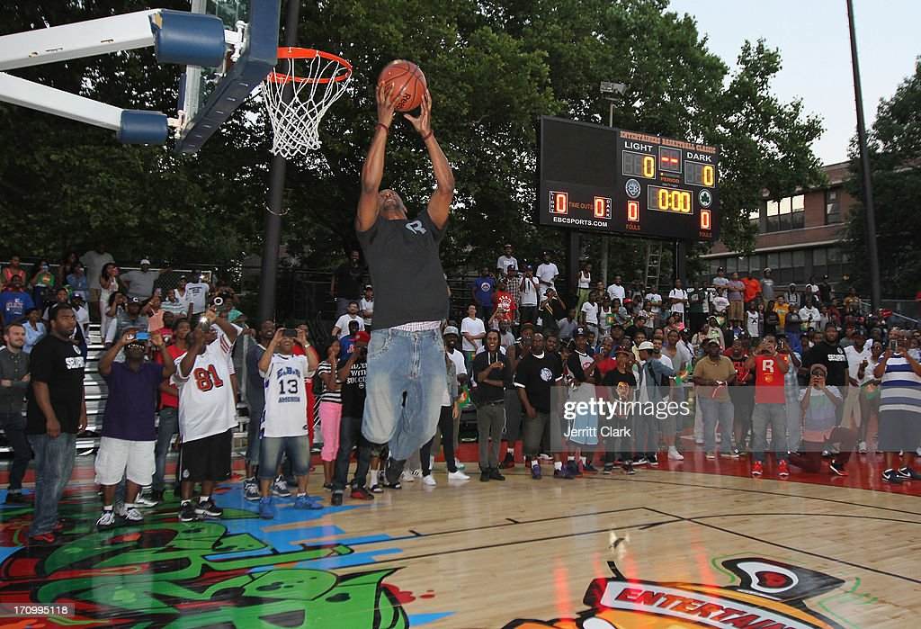 Former NBA Player Dee Brown dunks during the Reebok Classic Pump Omni Lite Dunk Contest at EBC at Rucker Park on June 20, 2013 in New York City.