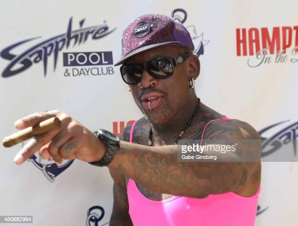 Former NBA player Dennis Rodman arrives at the Sapphire Pool Day Club on June 15 2014 in Las Vegas Nevada