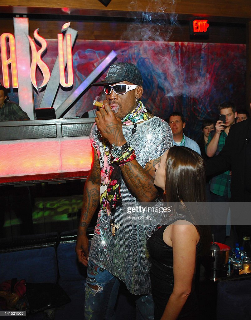 Former NBA player Dennis Rodman hosts St. Patricks Day Party at the Tabu Ultra Lounge at the MGM Grand Hotel/Casino on March 17, 2012 in Las Vegas, Nevada.
