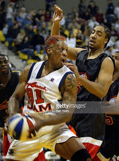 Former NBA player DENNIS RODMAN plays his first professional basketball game since 2000 as Long Beach Jam plays Fresno HeatWave in ABA competition at...