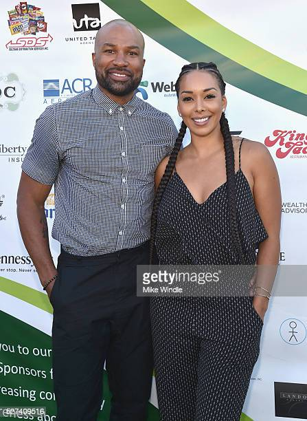 Former NBA player Derek Fisher and Gloria Govan attended the 9th Annual George Lopez Celebrity Golf Classic to benefit The George Lopez Foundation on...