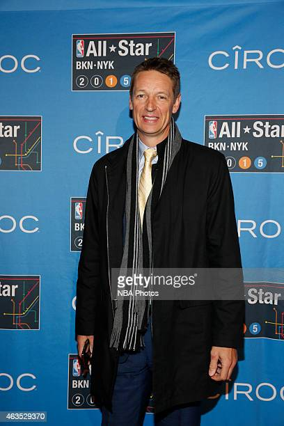 Former NBA player Detlef Schrempf arrives prior to the 2015 NBA AllStar Game as part of the 2015 AllStar Weekend at Madison Square Garden on February...