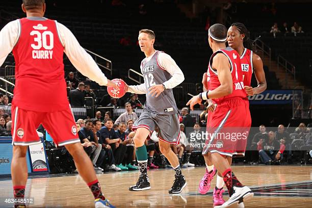 Former NBA player Detlef Schrempf dribbles during NBA Cares Special Olympics Unified Sports Game as part of 2015 AllStar Weekend at Madison Square...