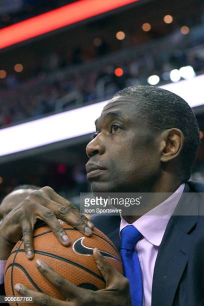 Former NBA player Dikembe Mutombo attends the game between the Villanova Wildcats and the Georgetown Hoyas on January 17 at the Capital One Arena in...