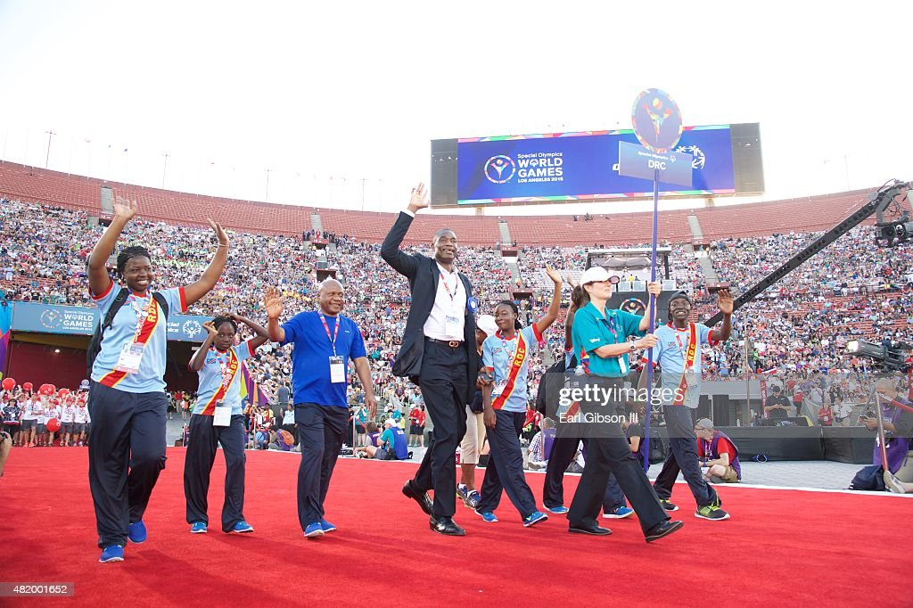 Former NBA Player Dikembe Mutombo attends the Opening Ceremony Of The Special Olympics World Games Los Angeles 2015 at Los Angeles Memorial Coliseum on July 25, 2015 in Los Angeles, California.