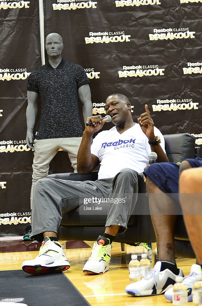 Former NBA player Dominique Wilkins at the Reebok Classic Breakout Classic Rap Roundtable at Philadelphia University on July 9, 2014 in Philadelphia, Pennsylvania.